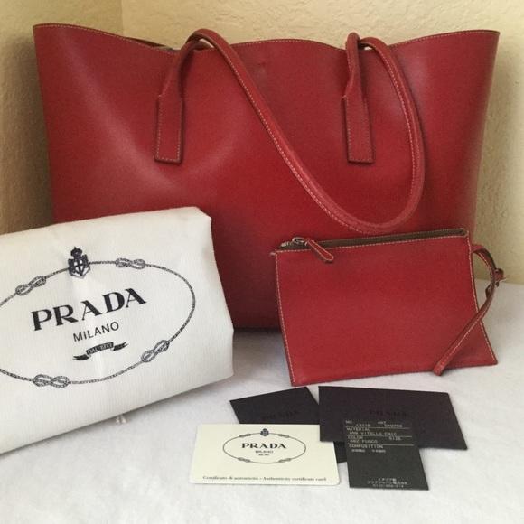 2c5aae1c896b6b Prada Bags | Calf Leather Red W Pouch Organizer | Poshmark